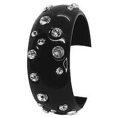 Two Black Celluloid Rhinestone Bracelets