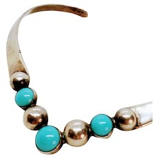 Sterling Mexico Turquoise Choker Necklace