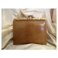 Vintage Meyer Embossed Leather Wrist Handbag