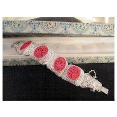 Asian Filigree Silver /Carved Cinnabar Bracelet