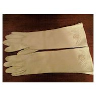 Beaded Faux Pearl Cotton Gloves