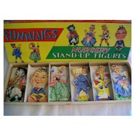 """Vintage """" Funnijigs """" Stand-up Wooden Puzzle Figures"""