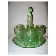 Depression Sandwich Glass Decanter/Goblets Set