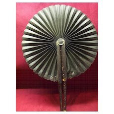 Mourning Fan Cloth & Leather 1900's