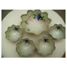 Vintage Handpainted Nut Bowl & Cups Japan