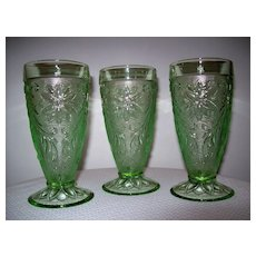 Vintage Green Sandwich/ Chantilly Footed Tumbler's  3