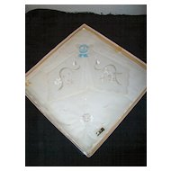 Vintage Embroidered Cotton Handkerchief / Box