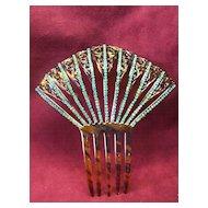 Vintage Faux Tortoise & Teal Rhinestone  Fan Haircomb