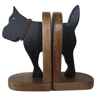 Pair Vintage Wooden Dog Book Ends