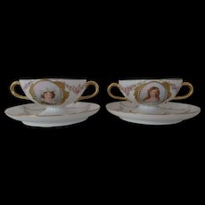 Haviland China Soup's Cups and Under Plates (2)