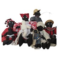 Black Cloth Doll Family