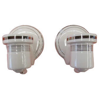Art Deco Wall Sconce Pair Porcelain