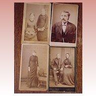 Four Carte De Viste  Men and Women