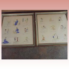 Darling Pair of Hand-Colored Chilren's  Prayer Pictures