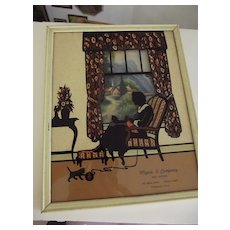 Old Advertising Silhouette With Cats