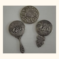 Three Vintage Pocket Mirrors Two From Denmark