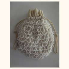 White Beaded Bag Art Deco