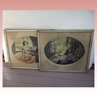 Pair of Art Deco Pictures of Ladies Violin, Piano