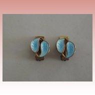 David Andersen Blue  Guilloche Clip On Earrings
