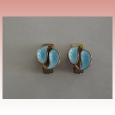 David Andersen Blue  Guilloche Clip On Earrings