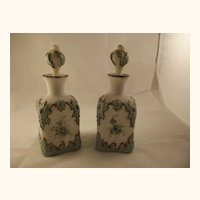 Pair of Large  Victorian  Hand-Painted  Perfume Bottles