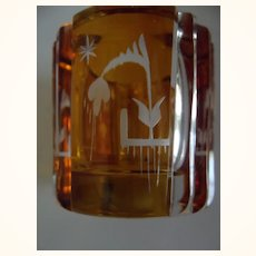 Amber Etched Glass Holder