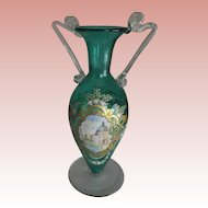 Green Bohemian Glass Vase