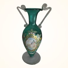 Green Bohemian Glass Vase