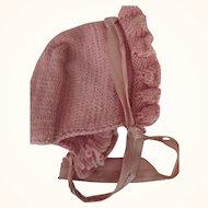 Pink Knit Bonnet
