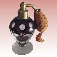 Cut Glass Burgundy Perfume Atomizer