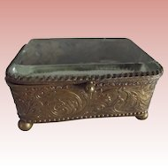 Early Beveled Glass Jewelry Casket