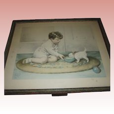 "Bessie Pease Gutmann's ""Kitty's Breakfast"""