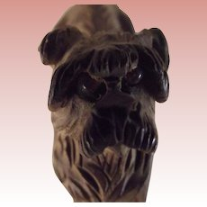 Wood Carved Figure of A Dog With Glass Eyes