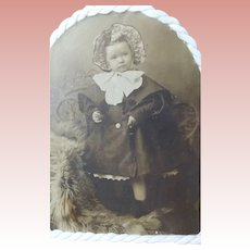 Victorian Framed Cabinet Card With Floral Mat