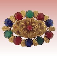 Czech Pin With Art Glass Stones