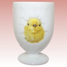 Hatching Chick Cup Milk Glass