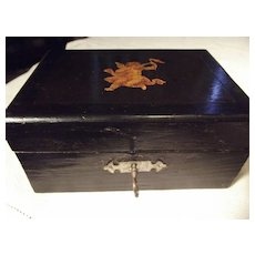 Early Wood Box With Angel Decal
