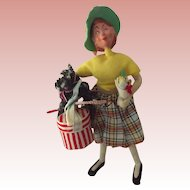 Character Doll With Hat Box, Poodle and Flowers