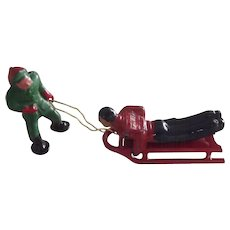 Man On Sled, Figure Pulling Sled, Lead Figures