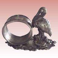 Silver  Plate  Figural Napkin Holder With Crane or Stork
