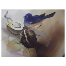Nippon Dish With Hand Painted Blue Bird and Nut