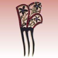 Fancy Victorian Comb Red Rhinestones