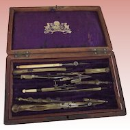Drafting, Engineer  Set In Rosewood Box, Compas A porte  Mine Mobile