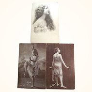 Three Early Glamour Girl Post Cards