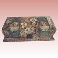 Celluloid Victorian Box with Children and Flowers