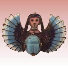 Egyptian Revival Pin With Scarab and Winged Figure