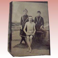 Tintype Of Bathing Scene