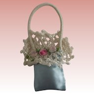 Satin and Crochet Purse with Rosettes