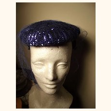 Fancy Electric Blue Sequined Hat