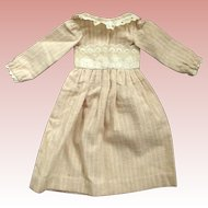 Early Flannel Doll Dress With Eyelet Trim